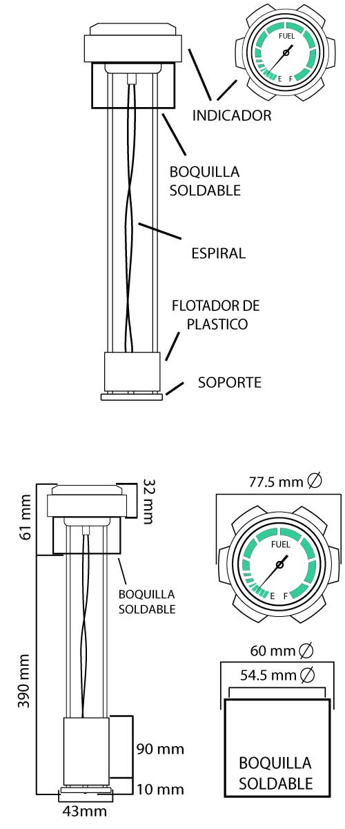 sonda nivel para depositos de gasoil de generadores