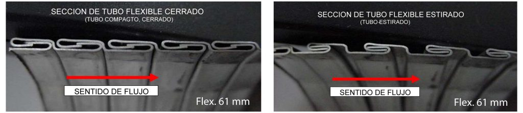 flexible de escape de metal